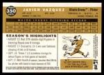 2009 Topps Heritage #350  Javier Vazquez  Back Thumbnail