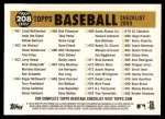 2009 Topps Heritage #208   White Sox Team Checklist Back Thumbnail