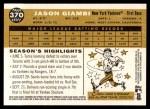 2009 Topps Heritage #370  Jason Giambi  Back Thumbnail