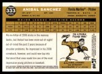 2009 Topps Heritage #333  Anibal Sanchez  Back Thumbnail