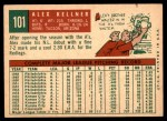 1959 Topps #101  Alex Kellner  Back Thumbnail