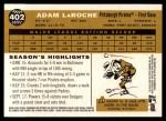 2009 Topps Heritage #402  Adam LaRoche  Back Thumbnail