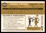 2009 Topps Heritage #404  Chris Young  Back Thumbnail
