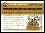 2009 Topps Heritage #403  Taylor Teagarden  Back Thumbnail