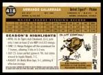 2009 Topps Heritage #418  Armando Galarraga  Back Thumbnail