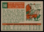 1959 Topps #148  Mike McCormick  Back Thumbnail