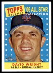 2007 Topps Heritage #480   -  David Wright All-Star Front Thumbnail