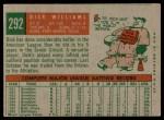 1959 Topps #292  Dick Williams  Back Thumbnail