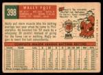 1959 Topps #398  Wally Post  Back Thumbnail