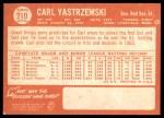 1964 Topps #210  Carl Yastrzemski  Back Thumbnail
