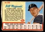 1962 Post #170  Bill Mazeroski  Front Thumbnail