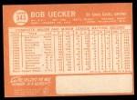 1964 Topps #543  Bob Uecker  Back Thumbnail