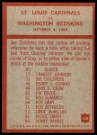 1965 Philadelphia #168   -  Wally Lemm St. Louis Cardinals Back Thumbnail