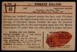 1953 Bowman #40  Horace Gillom  Back Thumbnail