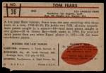 1953 Bowman #36  Tom Fears  Back Thumbnail