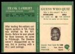 1966 Philadelphia #151  Frank Lambert  Back Thumbnail