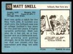 1964 Topps #125  Matt Snell  Back Thumbnail