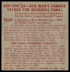 1953 Red Man #15 NL x Ralph Kiner  Back Thumbnail