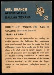 1962 Fleer #32  Mel Branch  Back Thumbnail