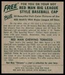 1954 Red Man #13 AL Mickey Vernon  Back Thumbnail