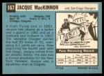 1964 Topps #167  Jacque MacKinnon  Back Thumbnail