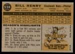 1960 Topps #524  Bill Henry  Back Thumbnail