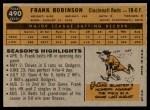1960 Topps #490  Frank Robinson  Back Thumbnail