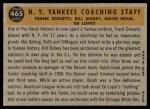 1960 Topps #465   -  Bill Dickey / Ralph Houk / Frank Crosetti / Ed Lopat Yankees Coaches Back Thumbnail