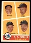 1960 Topps #465   -  Bill Dickey / Ralph Houk / Frank Crosetti / Ed Lopat Yankees Coaches Front Thumbnail