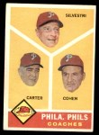 1960 Topps #466   -  Ken Silvestri / Dick Carter / Andy Cohen Phillies Coaches Front Thumbnail