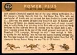 1960 Topps #260   -  Rocky Colavito / Tito Francona Power Plus Back Thumbnail