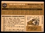 1960 Topps #420  Eddie Mathews  Back Thumbnail