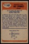 1955 Bowman #107  Art Spinney  Back Thumbnail