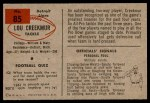 1954 Bowman #85  Lou Creekmur  Back Thumbnail