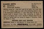 1952 Bowman Small #41  Claude Hipps  Back Thumbnail