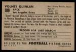 1952 Bowman Large #109  Volney Quinlan  Back Thumbnail