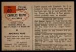 1954 Bowman #60  Charley Trippi  Back Thumbnail