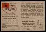 1954 Bowman #111  Dante Lavelli  Back Thumbnail