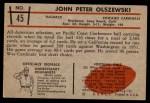 1953 Bowman #45  John Olszewski  Back Thumbnail