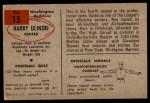 1954 Bowman #15  Harry Ulinski  Back Thumbnail