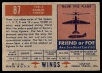 1952 Topps Wings #87   YAK-3 Back Thumbnail