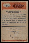 1955 Bowman #112  Lou Creekmur  Back Thumbnail