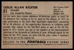 1952 Bowman Large #61  Les Richter  Back Thumbnail