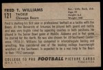1952 Bowman Large #121  Fred Williams  Back Thumbnail