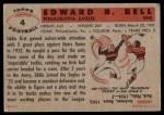 1956 Topps #4  Eddie Bell  Back Thumbnail