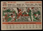 1956 Topps #270  Billy Loes  Back Thumbnail