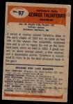 1955 Bowman #97  George Taliaferro  Back Thumbnail