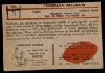1953 Bowman #71  Thurman McGraw  Back Thumbnail