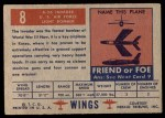 1952 Topps Wings #8   B-26 Invader Back Thumbnail