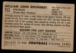 1952 Bowman Large #113  Bill Reichardt  Back Thumbnail